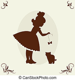 Girl and kitten Vector illustration