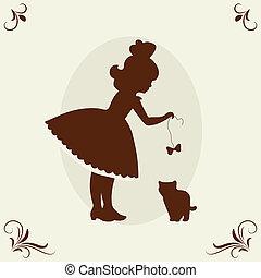 Girl and kitten. Vector illustration.
