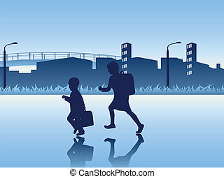 Kids going to the school Vector illustration