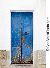 Blue wood door Mediterranean architecture Ibiza Balearic...