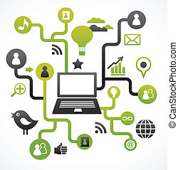Social network background with media icons - Ecology green...