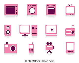 Home appliance objects set. Vector illustration.