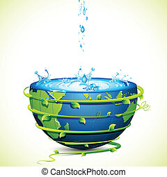 Safe Earth - illustration of earth filled with water and...