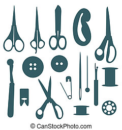 Sewing objects silhouettes set Vector illustration