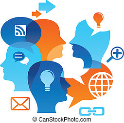 Social network backgound with media icons - Social network...