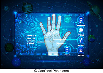Palmistry - illustration of palm on touch screen indicating...