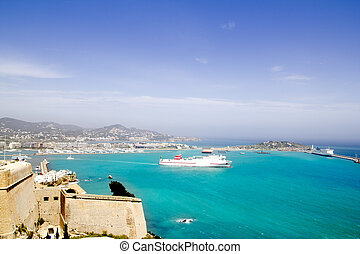 Ibiza view from up castle ferry boat Balearic islands