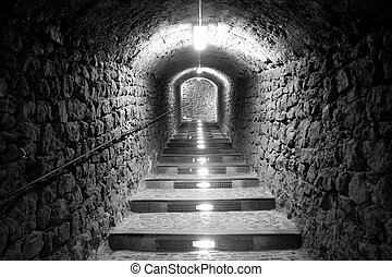 Ibiza island tunnel way up to the castle light effect...