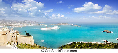 Ibiza panoramic view from up castle ferry boat Balearic islands