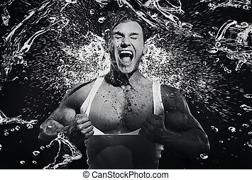 Fine art photo of a young strongman screaming