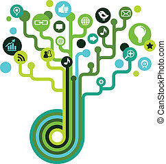 Social network tree with media icons, ecology theme