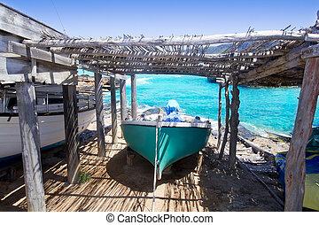Es Calo escalo Formentera Ibiza beached boat turquoise...
