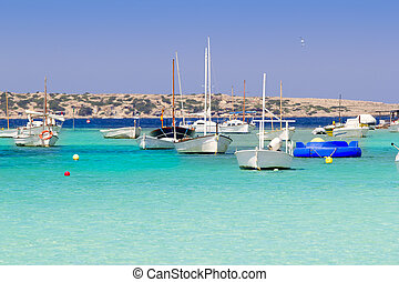 estany des peix in Formentera lake anchor boats...