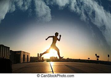 joven, atlético, hombre, runing