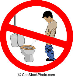don't splash - vector humorous illustration of a boy pissing...