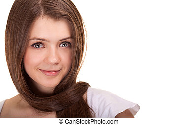 Portrait of a beautiful teen girl with long hairs and clean...