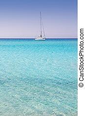 Illetes illetas formentera beach boats anchor in horizon...