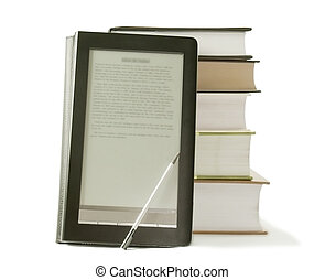 Stack of books and electronic book reader on the white...