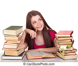 Teen girl with lot of books, isolated on white