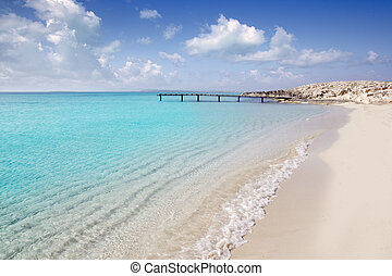 Formentera beach wood pier turquoise balearic sea -...