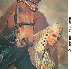 pharaoh with horse vintage toned outdoor sunny day
