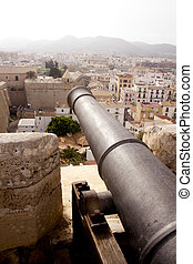 cannon from Ibiza island castle dalt vila view balearic...