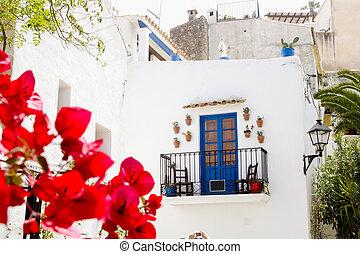 Ibiza white island architecture corner bougainvilleas...