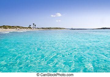 Illetas illetes turquoise beach shore Formentera balearic...
