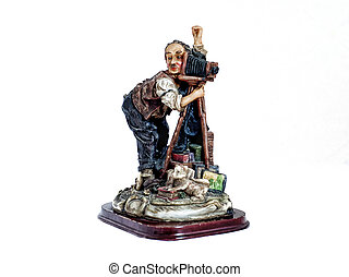 Statuette of photographer - Wooden statuette of photographer...