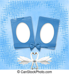 Greeting Card to wedding with frames on the blue background