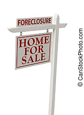 Foreclosure For Sale Real Estate Sign on White with Clipping...