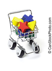 Wooden toy blocks in shopping cart