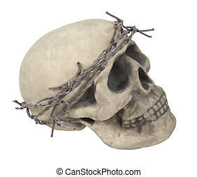 Skull Wearing Barbed Wire Crown - Skull with eye sockets and...