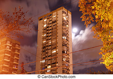 Building in Palermo, Buenos Aires - A building at night in...