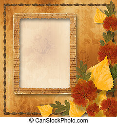 Grunge papers design in scrapbooking style with autumn...