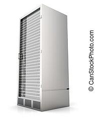 Server Tower - 3D rendered Illustration. Isolated on white....