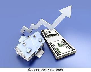 Growing Real Estate value - 3D rendered Illustration.