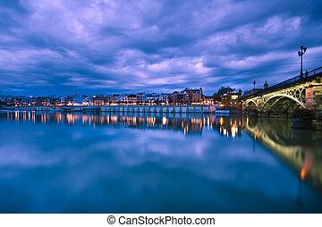 Sevillie, dramático, panorama, ribera