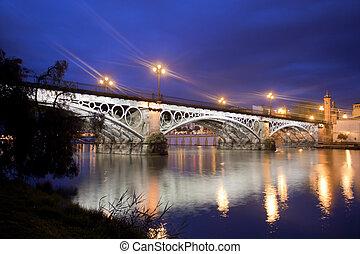 Sevillie, panorama, viejo, Triana, Puente