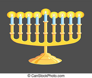 Menorah - A Hanukkah Menorah isolated on black background
