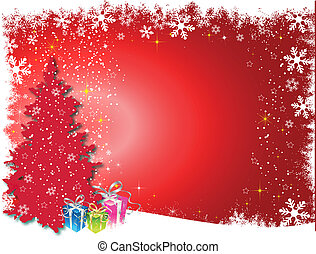 Christmas Card - Christmas background with tree and gifts