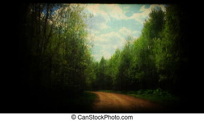 Spring country road - Spring country road, vintage styled...