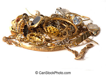 Gold scrap - pile of old broken gold jewelry for scrap