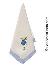 White kitchen towel with blue flower embroidery, isolated on...