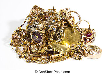 pile of gold - a lot of gold ornaments on a white background