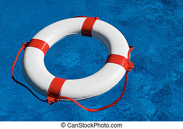 Rescue tires in the pool - An emergency tire floating in a...