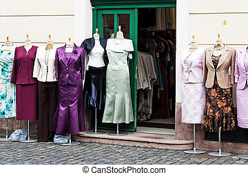 Garments of a boutique - The exhibited items of clothing a...