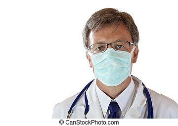 Male medical doctor protects himself with maks against virus...