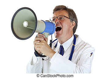 Elderly handsome Doctor shouts loudly in megaphone Isolated...