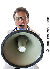Frontal view of an doctor screaming loudly in megaphone